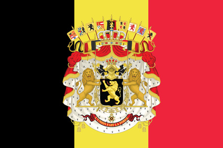 Flag of Belgium with Coat of Arms. Vector Format