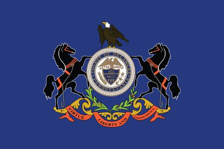 education policy: Flag of Delaware County, Pennsylvania, USA. Vector Format