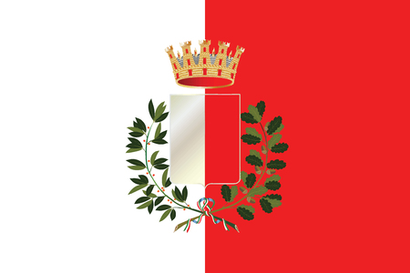 Flag of Bari with Coat of Arms, Italy. Vector Format