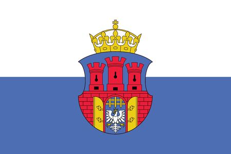krakow: Flag of Krakow with Coat of Arms, Poland. Vector Format Illustration
