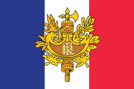 Flag Of France With National Emblem Vector Format Royalty Free