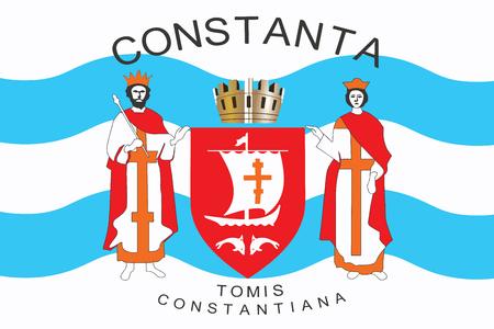 education policy: Flag of Constanta, Romania. Vector Format Illustration