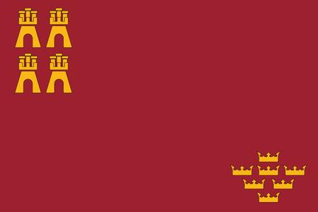 Flag of Murcia Region, Spain. Vector Format