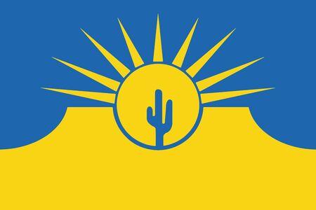 Flag of Mesa, Arizona, USA. Vector Format Illustration