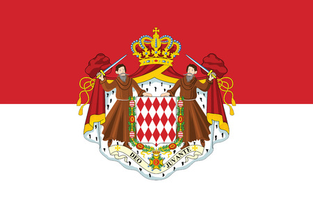Flag of Monaco with Coat of Arms. Vector Format