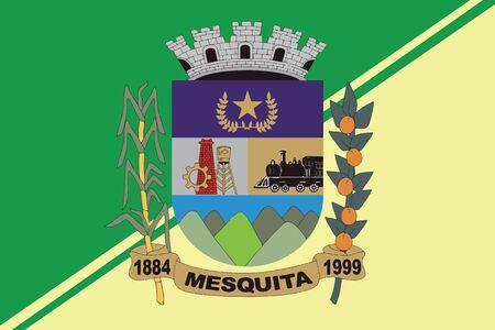 Flag of Mesquita, Rio de Janeiro, Brazil. Vector Format Ilustração
