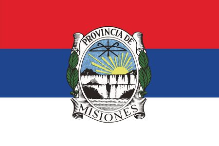 education policy: Flag of Misiones Province with Coat of Arms, Argentina. Vector Format