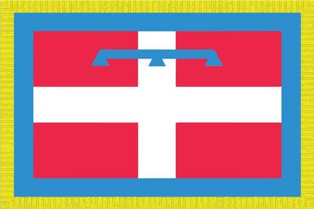 Flag of Piedmont Region, Italy. Vector Format