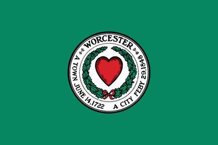 Flag of Worcester, Massachusetts, USA. Vector Format Illustration