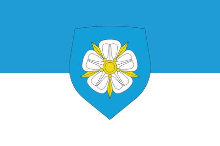 education policy: Flag of Viljandi with Coat of Arms, Estonia. Vector Format Illustration