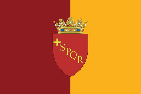 Flag of Rome with Coat of Arms, Italy. Vector Format