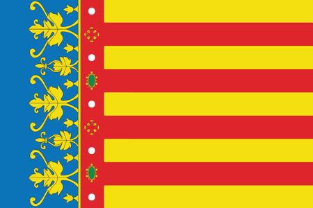 Flag of Valencian Community, Spain. Vector Format Ilustrace
