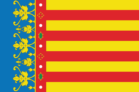 Flag of Valencian Community, Spain. Vector Format Illustration