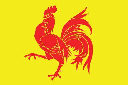 Flag of Walloon Region (Wallonia), Belgium. Vector Format Illustration