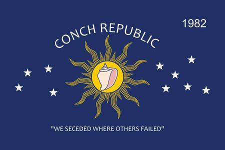 コンシュ共和国 (キーウェスト、フロリダ州)、アメリカ合衆国の旗。ベクトル形式