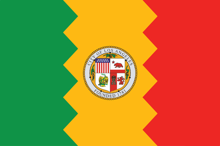 education policy: Flag of Los Angeles, California, USA. Vector Format