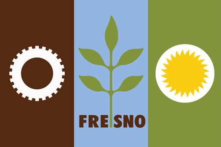 education policy: Flag of Fresno, California, USA. Vector Format