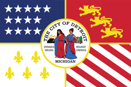 detroit: Flag of Detroit, Michigan, USA. Vector Format