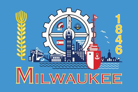 Milwaukee: Flag of Milwaukee, Wisconsin, USA. Vector Format