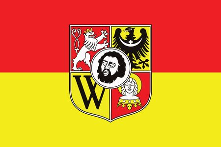 Flag of Wroclaw with Coat of Arms, Poland. Vector Format