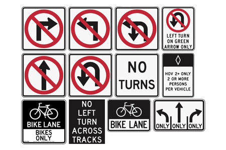 Road signs in the United States. R3 Series: Lane Usage and Turns. Vector Format