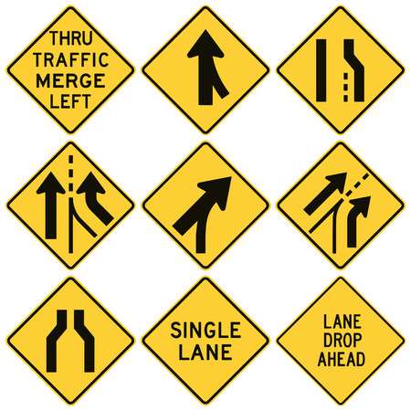 Road signs in the United States. W4 Series: Lanes and Merges. Vector Format