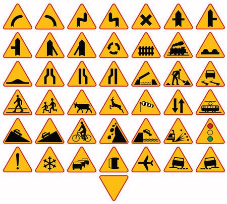 Road signs in Poland. Warning signs. Vector Format