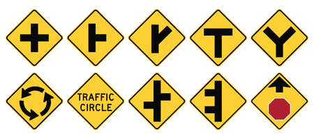 double lane: Road signs in the United States. W2 Series: Intersections. Vector Format