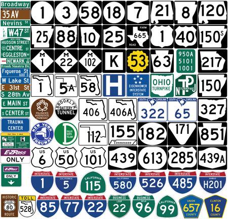 Segni stradali negli Stati Uniti. Marcatori dello schermo. Formato vettoriale Archivio Fotografico - 70446296