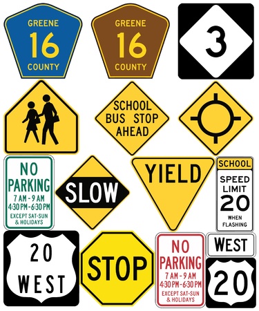 Road signs in the United States. Non-compliant Signs, Old Signs. Vector format