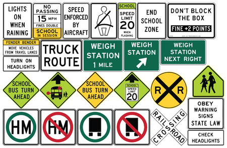 bender: Road signs in the United States. Weigh Stations, Truck Routes, Rail and Light Rail, Seat Belts and Headlight Use, Other Local and State Series, Schools. Vector Format