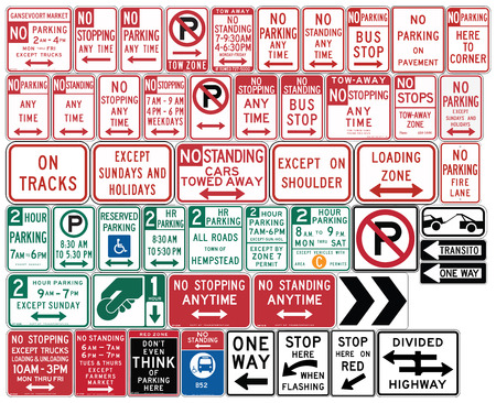 Road signs in the United States. One Way and Divided Highway, Parking, Emergency Restrictions. Vector Format Illustration