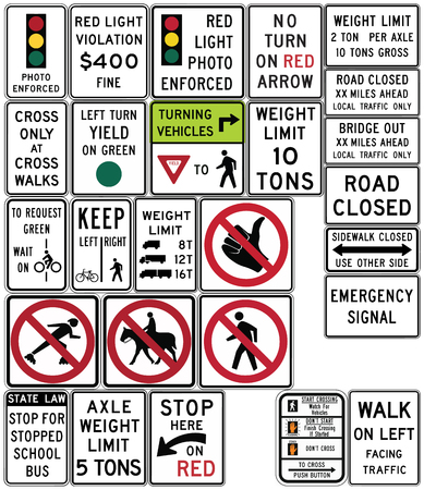 Road signs in the United States. Bicycles and Pedestrians, Traffic Signal, Road Closed, Weight Limits. Vector Format Illustration