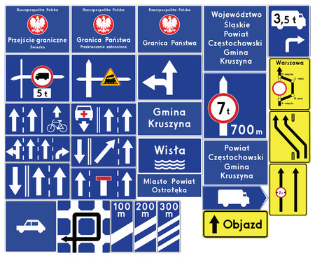 complementary: Road signs in Poland. Complementary signs. Vector Format Illustration