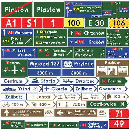 Road signs in Poland. Direction signs. Vector Format Illustration