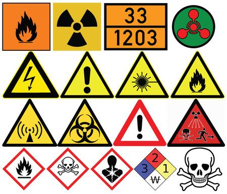 Hazard symbols. Generic caution, Poison, Radiation, Biological hazard, Carcinogen, High voltage, Laser hazard, Chemical weapon, Skull and crossbones. Illustration