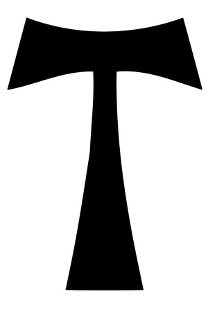 credence: Religious sign. Christianity. Tau cross. Vector Format.