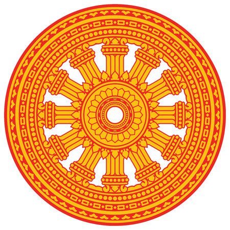 Religious sign. Buddhism. Red Dharmacakra on yellow. Vector Format. Illustration