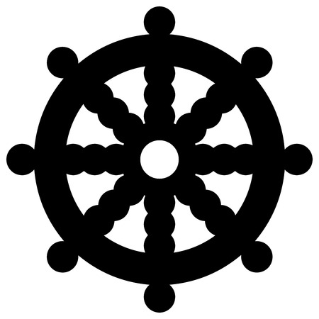 credence: Religious sign. Buddhism. Dharmacakra. Vector Format.