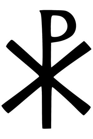 credence: Religious sign. Christianity. The Labarum or Chi Rho symbol. The first two letters of Christ, in Greek. Vector Format.