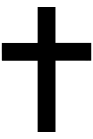 credence: Religious sign. Christianity. The Christian cross is a symbol of Jesus Christs passion, shown is simple Latin cross. Vector Format.