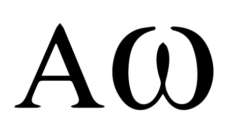 Religious sign. Christianity. Alpha and Omega, the first and last letter in the Greek alphabet. Christ is the beginning and the end. Vector Format.