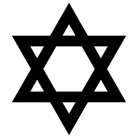 credence: Religious sign. Judaism. Star of David. Vector Format.