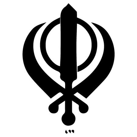 Religious sign. Sikhism. Khanda symbol. Vector Format.