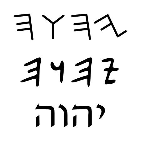 rite: Religious sign. Judaism. Tetragrammaton. Vector Format.