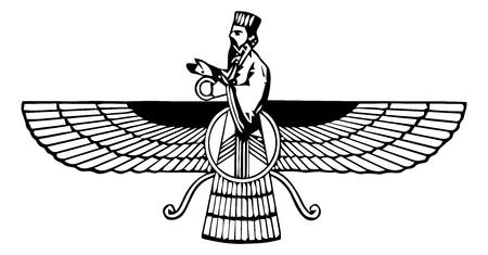 Religious sign. Zoroastrianism. Faravahar. Vector Format. Vettoriali