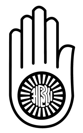credence: Religious sign. Jainism. Symbol of Ahimsa. Vector Format.