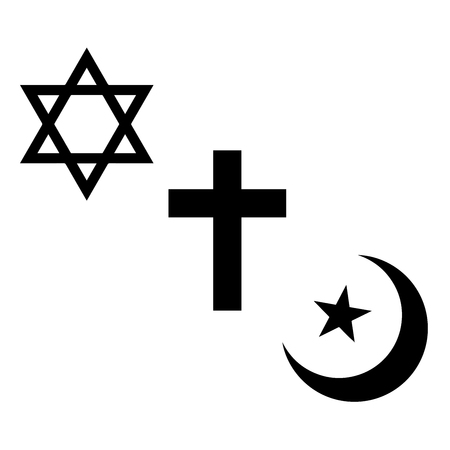 credence: Religious signs. Christian, Jewish and Muslim symbols. Vector Format.