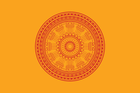 Dharmacakra flag, a flag of Buddhist in Thailand. Vector Format.