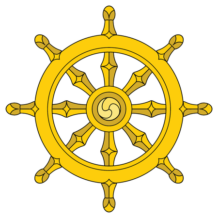 The Dharmacakra, Wheel of Dharma. Vector Format. Stock Illustratie